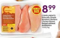 Compliments Naturally Simple Boneless Skinless Chicken Breast Raised Without Antibiotics