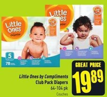 Little Ones By Compliments Club Pack Diapers 64-104 Pk