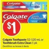 Colgate Toothpaste 52-120 mL or Toothbrush Extra Clean 1 Pk