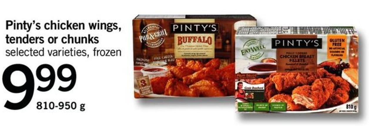 Pinty's Chicken Wings - Tenders Or Chunks - 810-950 G