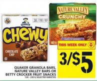 Quaker Granola Bars - Nature Valley Bars Or Betty Crocker Fruit Snacks