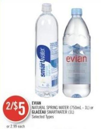 Evian Natural Spring Water (750ml - 1l) or Glacéau Smartwater (1l)