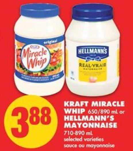 Kraft Miracle Whip - 650/890 mL or Hellmann's Mayonnaise - 710-890 mL