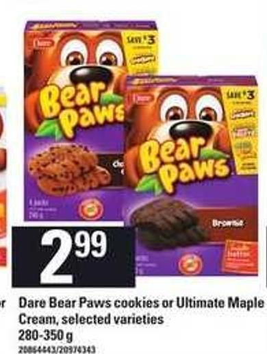 Dare Bear Paws Cookies Or Ultimate Maple Cream - 280-350 G