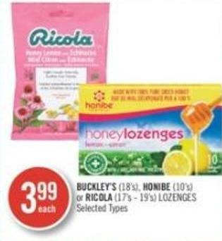 Buckley's (18's) - Honibe (10's) Or Ricola (17's-19's) Lozenges