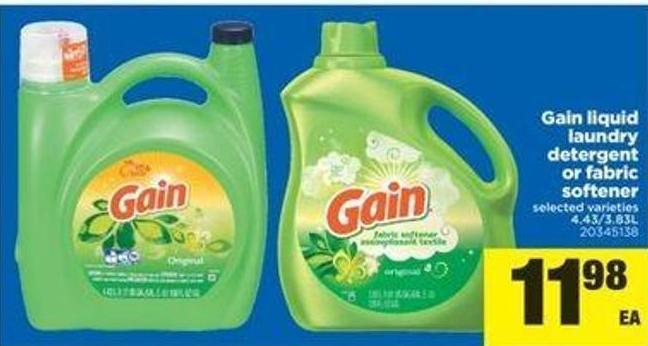 Gain Liquid Laundry Detergent Or Fabric Softener - 4.43/3.83l