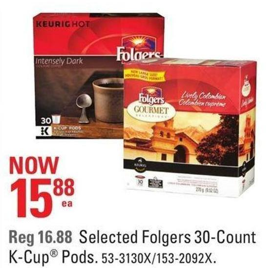 Selected Folgers 30-count K-cup Pods