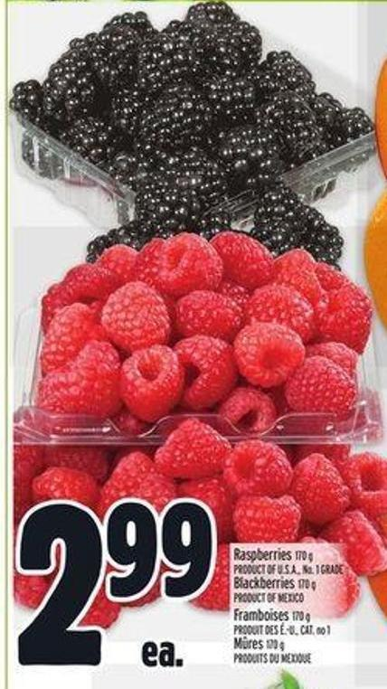 Raspberries 170 g Product Of U.S.A. - No. 1 Grade Blackberries 170 g Product Of Mexico