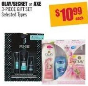 Olay/secret or Axe 3-piece Gift Set