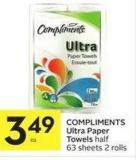 Compliments Ultra Paper Towels Half 63 Sheets 2 Rolls
