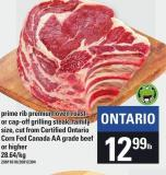 Prime Rib Premium Oven Roast Or Cap-off Grilling Steak