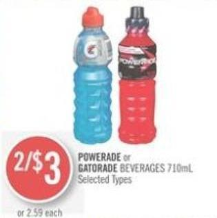Powerade or Gatorade Beverages 710ml