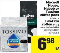 Maxwell House - Nabob Or Tassimo Coffee PODS - 8-16's Or Lavazza Coffee - 340 G