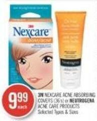3m Nexcare Acne Absorbing Covers (36's) or Neutrogena Acne Care Products