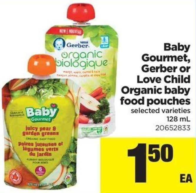 Baby Gourmet - Gerber Or Love Child Organic Baby Food Pouches - 128 Ml