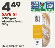 Ace Organic  White Oval Bread  580g