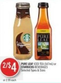 Pure Leaf Iced Tea (547ml) or Starbucks Beverages