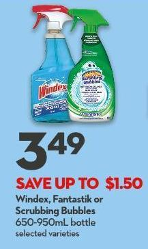 Windex - Fantastik or Scrubbing Bubbles  650-950ml Bottle