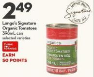 Longo's Signature  Organic Tomatoes 398ml Can
