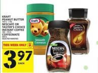 Kraft Peanut Butter Or Nescafé Or Taster's Choice Instant Coffee Or Coffeemate