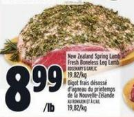 New Zealand Spring Lamb Fresh Boneless Leg Lamb Rosemary & Garlic