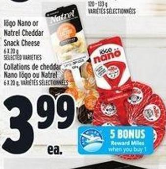 Iögo Nano or Natrel Cheddar Snack Cheese