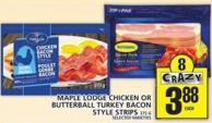 Maple Lodge Chicken Or Butterball Turkey Bacon Style Strips