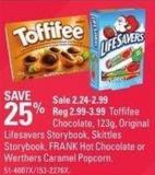 Toffifee Chocolate - 123g - Original Lifesavers Storybook - Skittles Storybook - Frank Hot Chocolate or Werthers Caramel Popcorn