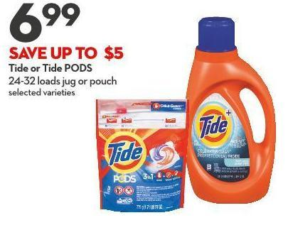 Tide or Tide PODS 24-32 Loads Jug or Pouch