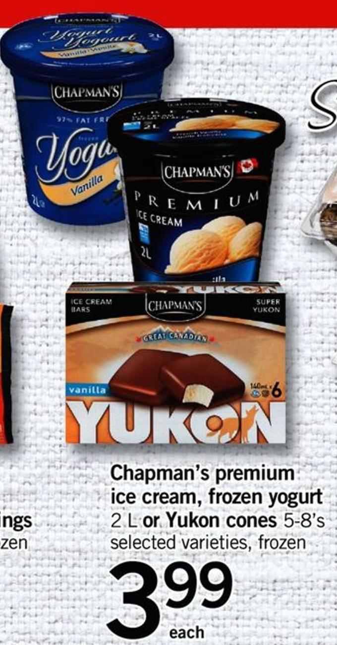 Chapman's Premium Ice Cream - Frozen Yogurt - 2 L Or Yukon Cones - 5-8's