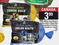 Polar White - Ivory Russet - Yukon Gold Or Yukon Red Potatoes - 5 Lb