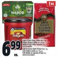Eight O'clock Bean Coffee 900 G - 1 Kg - Folgers Ground Coffee 642 - 975 G Or Nabob K-cup Coffee Capsules 12 Un.