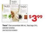 Tazo Chai Concentrate - 946 Ml - Teas Bags - 24's