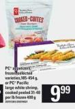 PC Appetizers - Frozen - 185-454 g - Or PC Pacific Large White Shrimp - Cooked Peeled 31-40 Per Lb400 g