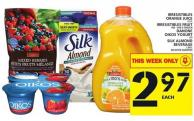 Irresistibles Orange Juice Or Irresistibles Fruit Or Danone Oikos Yogurt Or Silk Almond Beverage