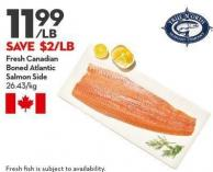 Fresh Canadian  Boned Atlantic Salmon Side
