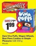 Dare Viva Puffs - Wagon Wheels - Bear Paws Cookies or Simple Pleasures 168-350 g