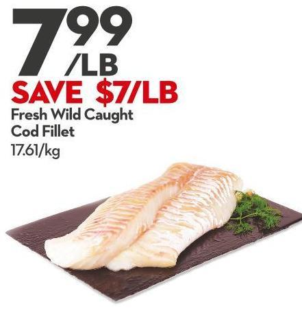 Fresh Wild Caught  Cod Fillet 17.61/kg