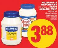 Hellmann's Mayonnaise - 710-890 mL or Kraft Miracle Whip - 650/890 mL