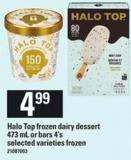 Halo Top Frozen Dairy Dessert - 473 Ml Or Bars - 4's