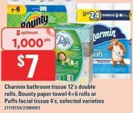 Charmin Bathroom Tissue 12's Double Rolls - Bounty Paper Towel 4=6 Rolls Or Puffs Facial Tissue 4's