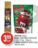 Toffifee (246g) - M&m's Christmas Chocolate Candy (176g - 200g) or Lindor Ornament Boxes (60g)