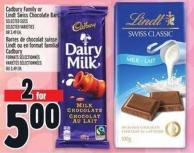 Cadbury Family Or Lindt Swiss Chocolate Bars