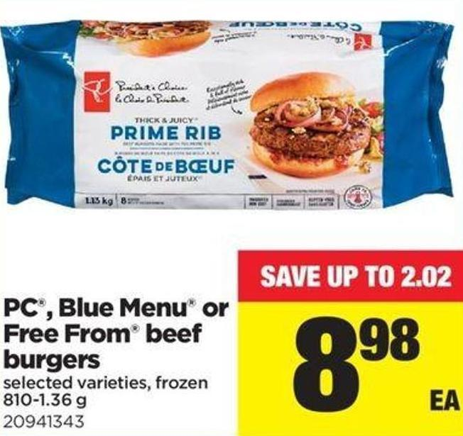 PC - Blue Menu Or Free From Beef Burgers - 810-1.36 G