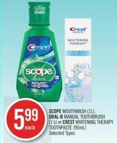 Scope Mouthwash (1l) - Oral-b Manual Toothbrush (1's) or Crest Whitening Therapy Toothpaste (90ml)
