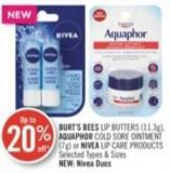 Burt's Bees Lip Butters (11.3g) - Aquaphor Cold Sore Ointment (7g) or Nivea Lip Care Products