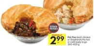 Pot Pies Beef - Chicken or Shepherd's Pie Hot or Cold Ready To Go 350-400 g