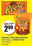 Hershey's Chocolate Pouches 180-230 g or Multi-packs 172-232 g