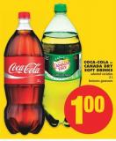Coca-cola or Canada Dry Soft Drinks - 2 L