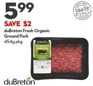 Dubreton Fresh Organic Ground Pork 454g Pkg
